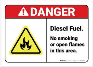 Danger: Diesel Fuel No Smoking ANSI - Label