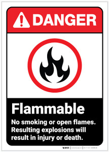 Danger: Flammable No Smoking or Open Flames ANSI - Label