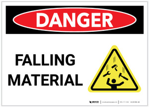 Danger: Falling Material Landscape with Graphic - Label