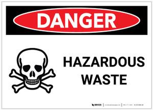 Danger: Hazardous Waste with Graphic - Label