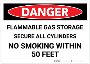 Danger: Flammable Gas Storage Secure Cylinders - Label