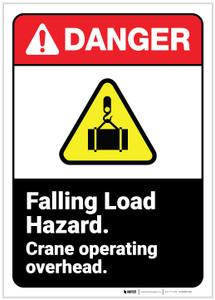 Danger: Falling Load Hazard Crane Safety ANSI - Label