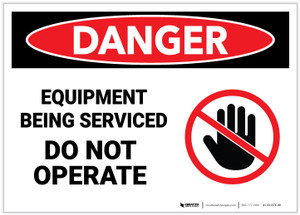Danger: Equipment Being Serviced - Do Not Operate - Label