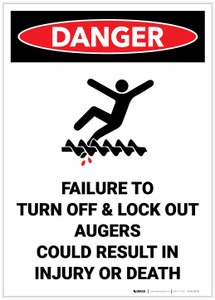Danger: Lock Out Auger Safety - Label