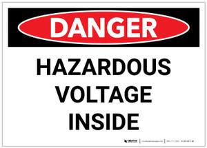 Danger: Hazardous Voltage Inside - Label