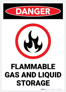 Danger: Flammable Gas and Liquid Storage - Label