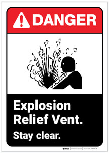 Danger: Explosion Relief Vent - Stay Clear ANSI - Label