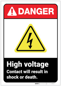 Danger: High Voltage Contact ANSI - Label