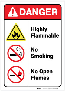 Danger: Highly Flammable No Smoking Open Flames ANSI - Label