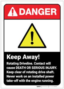 Danger: Keep Away Rotating Driveline ANSI - Label