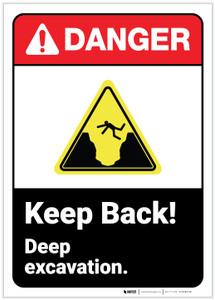 Danger: Keep Back Deep Excavation ANSI - Label