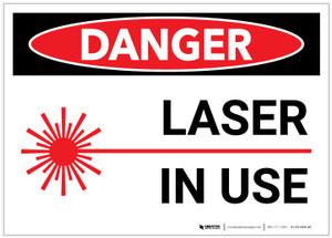 Danger: Laser In Use - Label