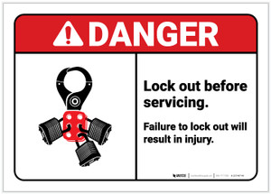 Danger: Lock Out Before Servicing - Failure to Lock Out Will Result in Injury ANSI - Label