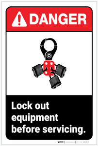 Danger: Lock Out Equipment ANSI - Label