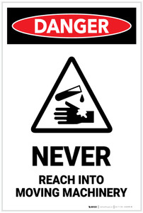 Danger: Never Reach into Moving Machinery with Graphic (Portrait) - Label