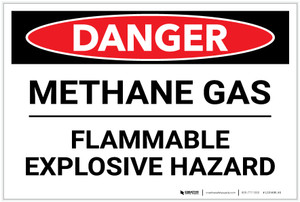 Danger: Methane Gas Flammable Explosive Hazard - Label