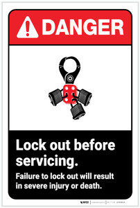 Danger: Lock Out Before Servicing ANSI - Label