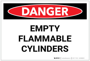 Danger: Empty Flammable Cylinders - Label