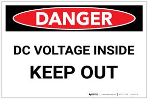 Danger: DC Voltage Inside/Keep Out - Label