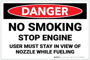 Danger: No Smoking/Stop Engine - User Must Stay in View of Nozzle While Fueling - Label