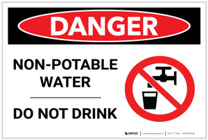 Danger: Non-Potable Water/Do Not Drink with Graphic - Label