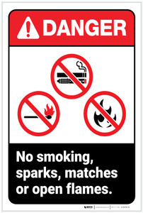 Danger: No Smoking, Sparks, Matches, or Open Flames ANSI - Label