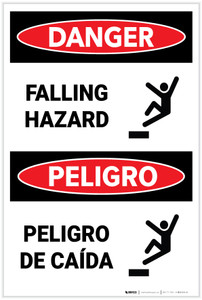Danger: Falling Hazard with Graphic (Spanish Bilingual) - Label