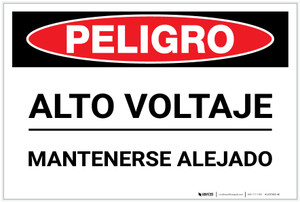 Danger: High Voltage Keep Away - Spanish - Label
