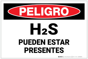 Danger: Hydrogen Sulfide May Be Present - Spanish - Label