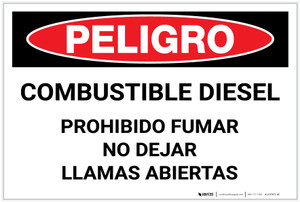 Danger: Combustible Diesel No Smoking No Open Flames - Spanish - Label