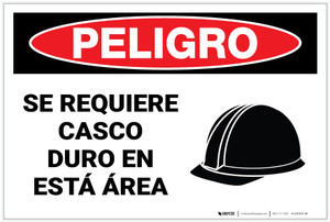 Danger: Hard Hat Required in This Area - Spanish - Label