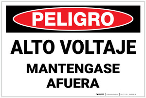 Danger: High Voltage Keep Out - Spanish - Label