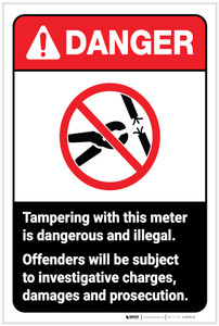 Danger: Tampering with This Meter is Dangerous ANSI - Label