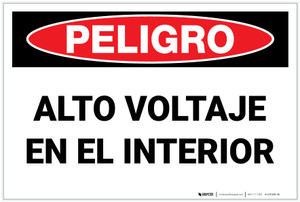 Danger: High Voltage Inside - Spanish - Label
