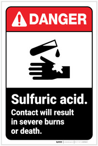 Danger: Sulfuric Acid ANSI - Label