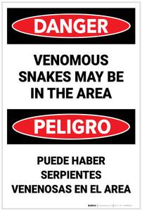 Danger: Venomous Snakes May Be In Area Bilingual - Label
