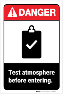 Danger: Test Atmosphere Before Entering ANSI - Label
