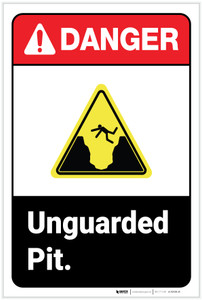 Danger: Unguarded Pit ANSI - Label