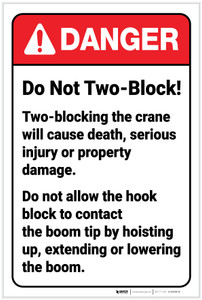 Danger: Do Not Two Block ANSI - Label