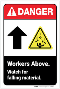 Danger: Workers Above Watch for Falling Material ANSI - Label