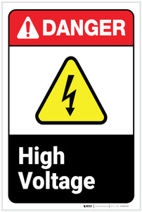 Danger: High Voltage ANSI - Label