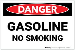 Danger: Gasoline No Smoking - Label