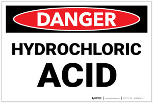 Danger: Hydrochloric Acid Landscape - Label