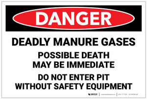 Danger: Deadly Manure Gases Do Not Enter Pit Without Equipment - Label