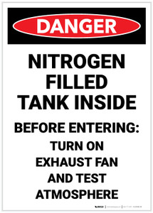 Danger: Nitrogen Filled Tank Inside Turn On Exhaust Fan - Label