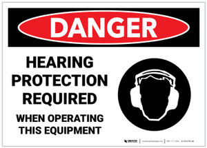 Danger: Hearing Protection Required when Operating Equipment - Label