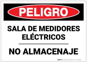 Danger: Electric Meter Room No Storage Spanish - Label