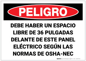 Danger: Keep Area Clear Electrical Panel Spnish - Label