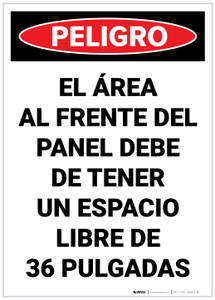 Danger: Keep Electrical Panel Clear Spanish - Label