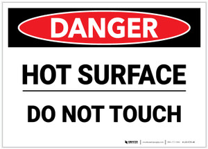 Danger: Hot Surface Do Not Touch - Label